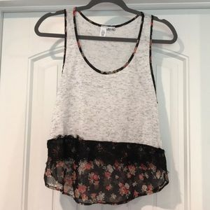 Grey tank top with floral and lace detail